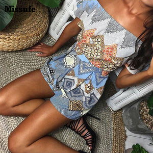 Geometric Off Shoulder Ruffle Top Boho Romper Playsuit - Surf Gypsy