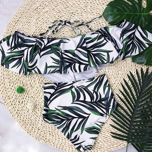 Tropical Palm Leaf Off Shoulder High Waist Two-Piece Swimsuit - Surf Gypsy
