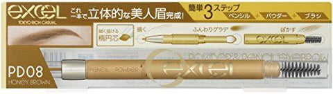 EXCEL Powder & Pencil Eyebrow Honey Brown PD08