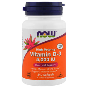 NOW: Vitamin D-3. 5000 IU. 240 Softgels