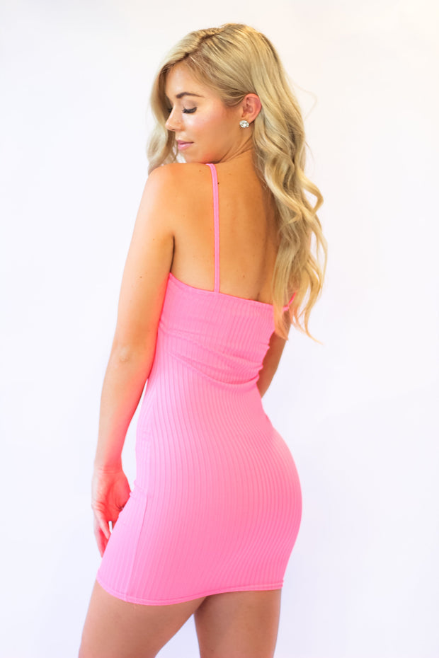 Cant Get Enough Dress in Neon Pink
