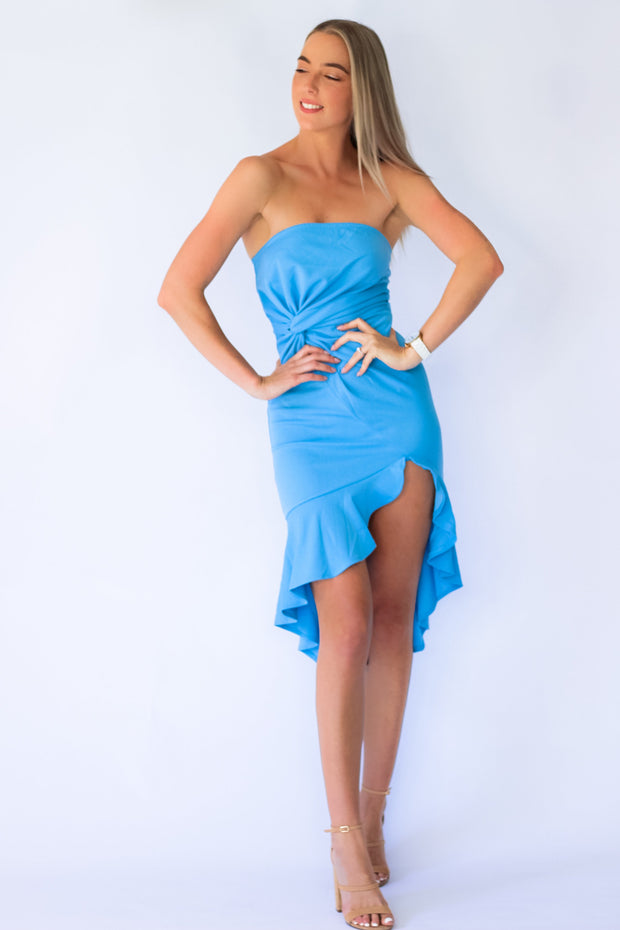 Sweet Twist Bandeau Dress in Light Blue