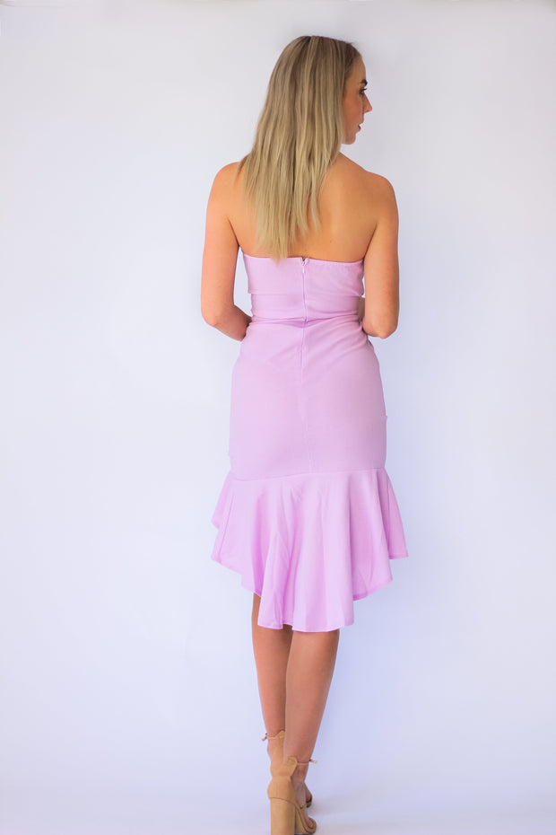 Sweet Twist Bandeau Dress in Lilac