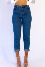 Best Of Me Mom Jeans in Mid Blue