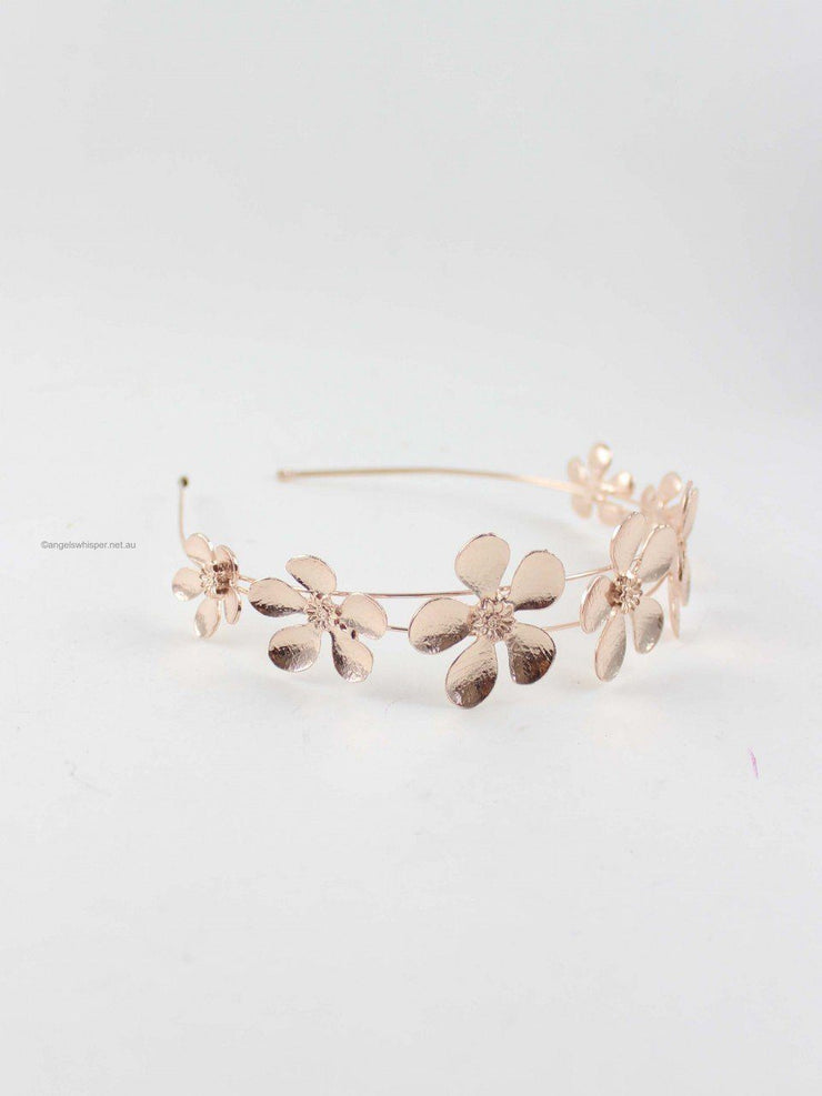 Accessories - Kiara Floral Petals Headband In Rose Gold