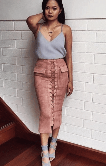 Bottom - Break Up Midi Skirt Rose