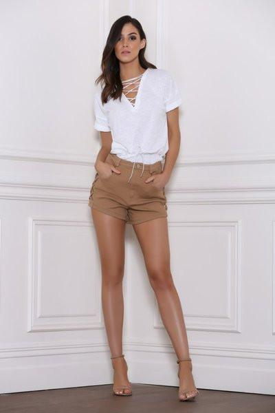Bottom - Razor Denim Shorts Tan