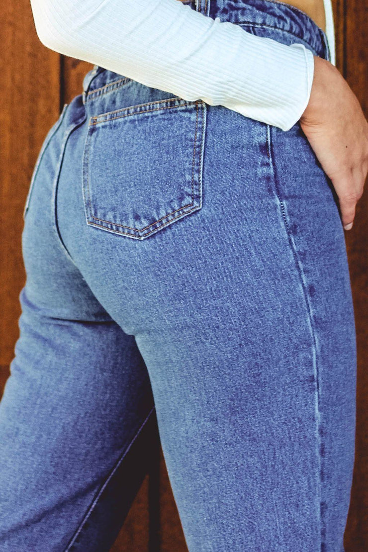 Bottoms - Best Of Me Mom Jeans In Mid Blue