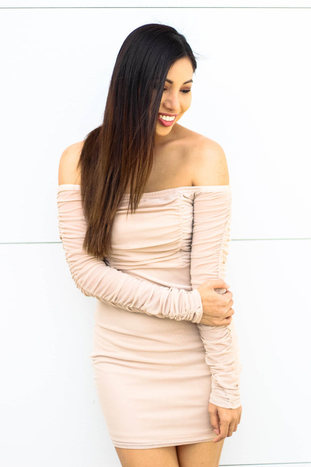Dress - Back To You Mesh Dress In Light Beige
