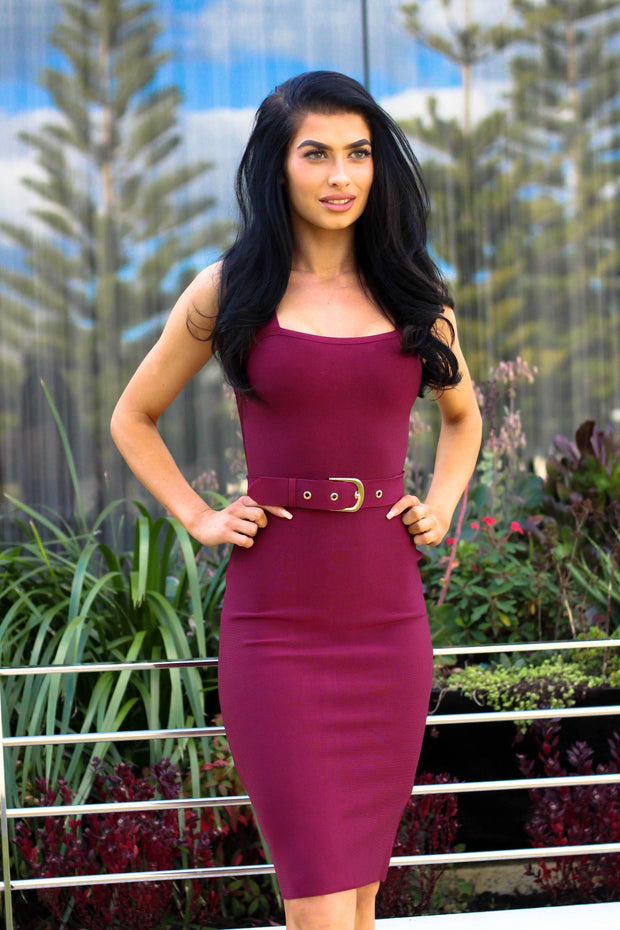 Dress - Moving Fast Midi Dress In Wine