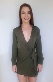 Dress - Together Wrap Dress In Khaki
