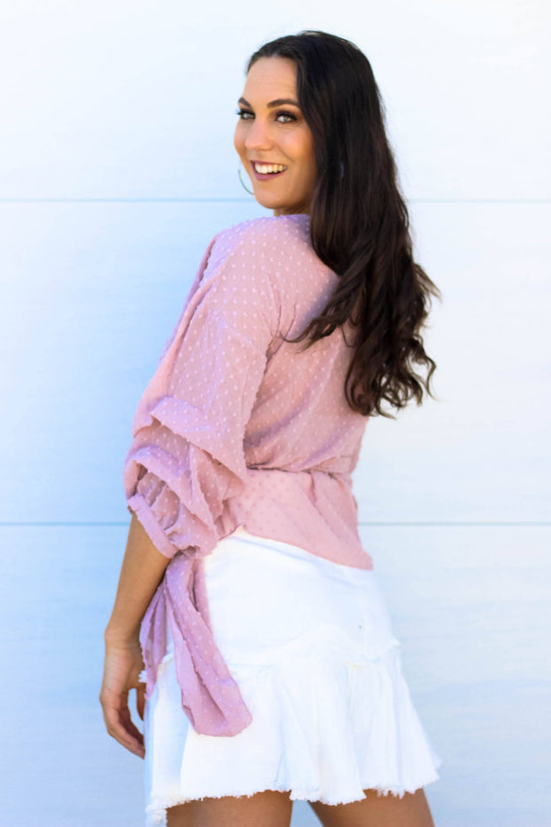Top - Find Yourself Wrap Top In Pink