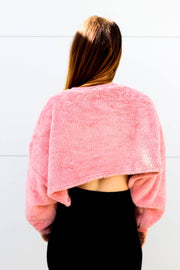 Top - Teddy Batwing Cropped Top Jumper In Dusty Pink