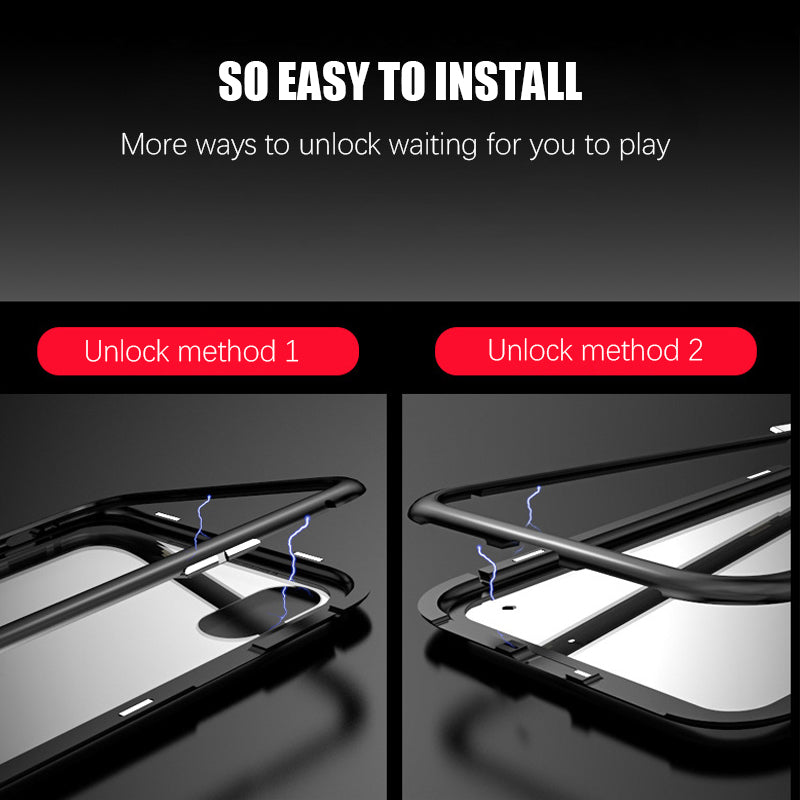 Magnetic Metal Frame Tempered Glass Cover