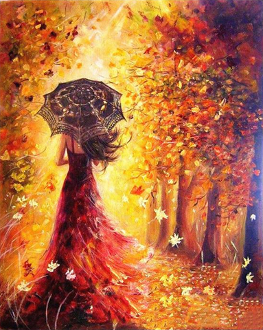 DIY Painting By Numbers - Beautiful Women Autumn Landscape