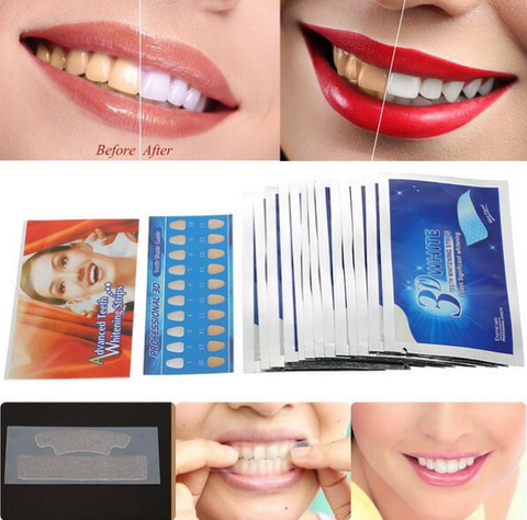 3D White Gel Teeth Whitening Strips (28Pcs/14Pair)