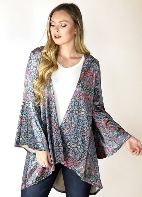 ARABIAN NIGHT VELVET KIMONO W/BELL SLEEVE (JUDITH MARCH)