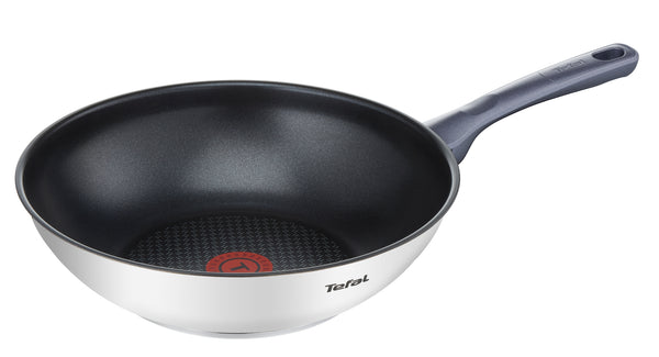 Tefal Daily Cook Stainless Steel Induction Wok Pan 28cm + lid
