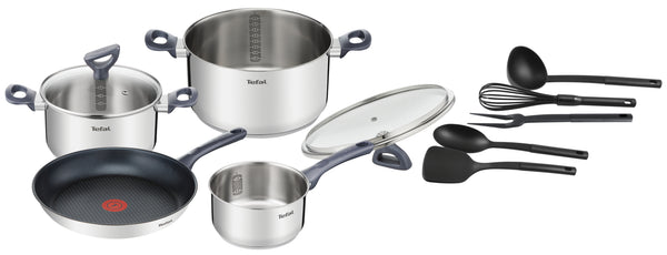Tefal Daily Cook Induction Stainless Steel 4pce Set + Utensils (G713SB74)