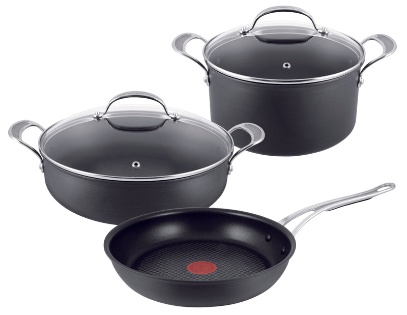 Jamie Oliver  Premium Hard Anodised Induction 3 Pcs Set - Frypan 28cm/Pot Roast 30cm/ Stewpot 24cm