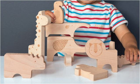 Safari Wooden Puzzle and Play Set