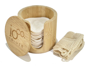 Bamboo Cotton Reusable Face Wipes with Bamboo Cylinder