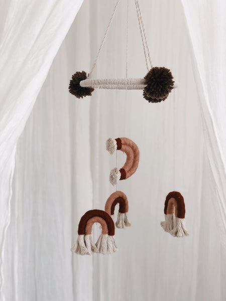 Macrame rainbow nursery mobile