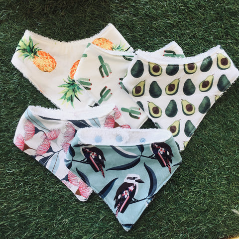 Locally made dribble bibs