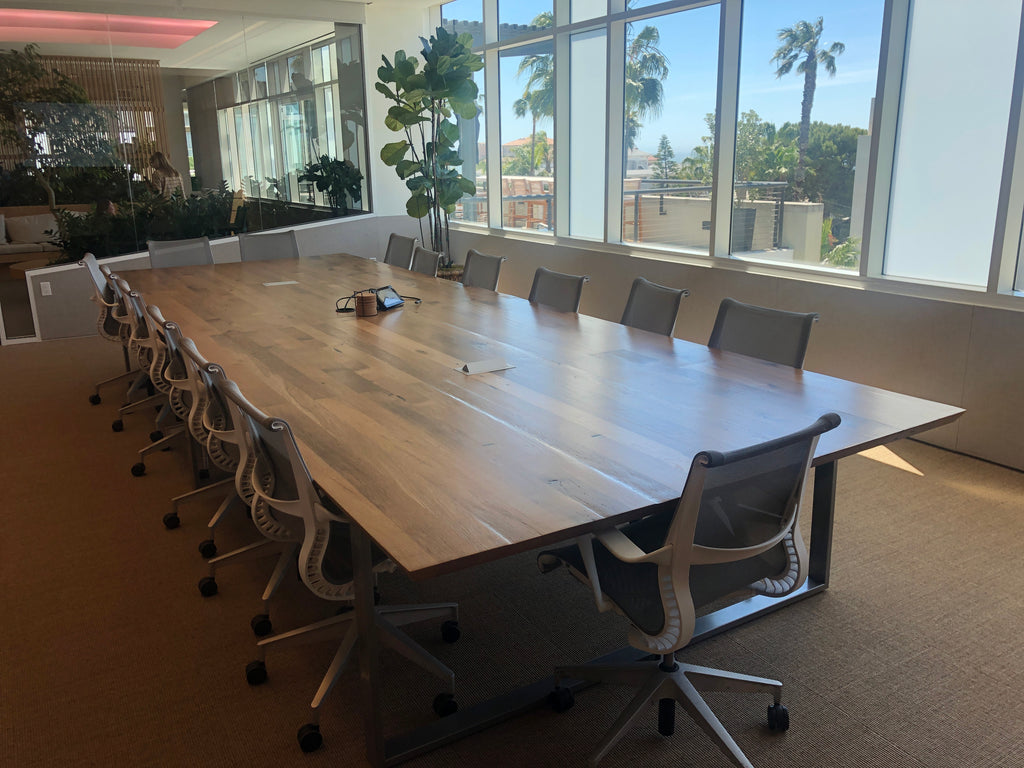 Custom reclaimed wood conference tables for a client's office in Santa Monica