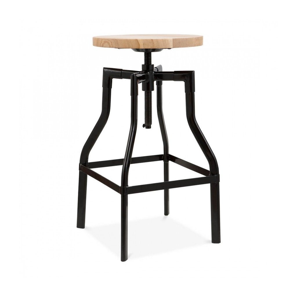 Machinist Black Adjustable Steel Barstool Ash Wood Seat 26 - 32 Inch