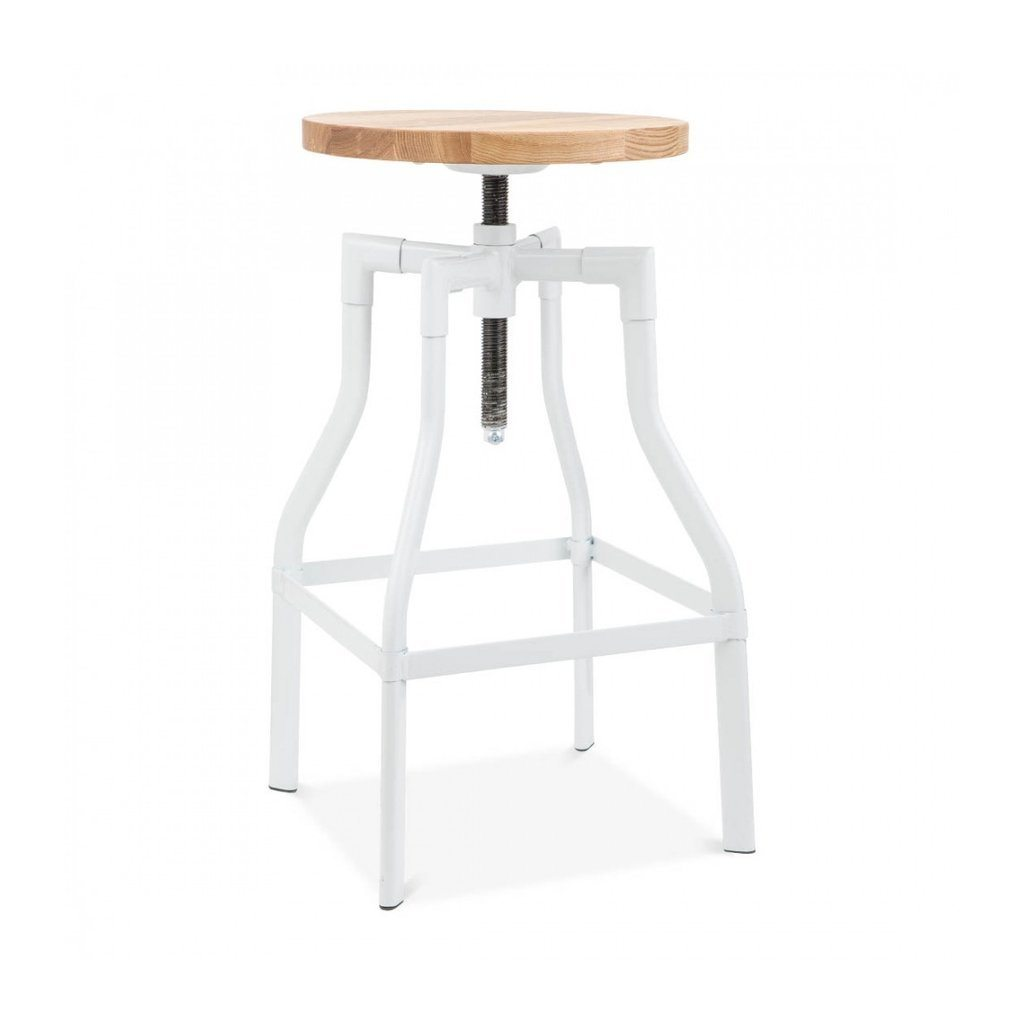 Machinist White Adjustable Steel Barstool Ash Wood Seat 26 - 32 Inch