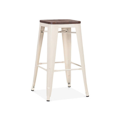 Dreux Glossy Cream Elm Wood Steel Stackable Counter Stool 26 Inch (Set of 4)