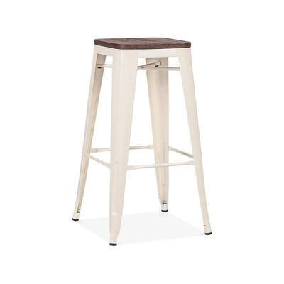 Dreux Glossy Cream Elm Wood Steel Stackable Barstool 30 Inch (Set of 4)