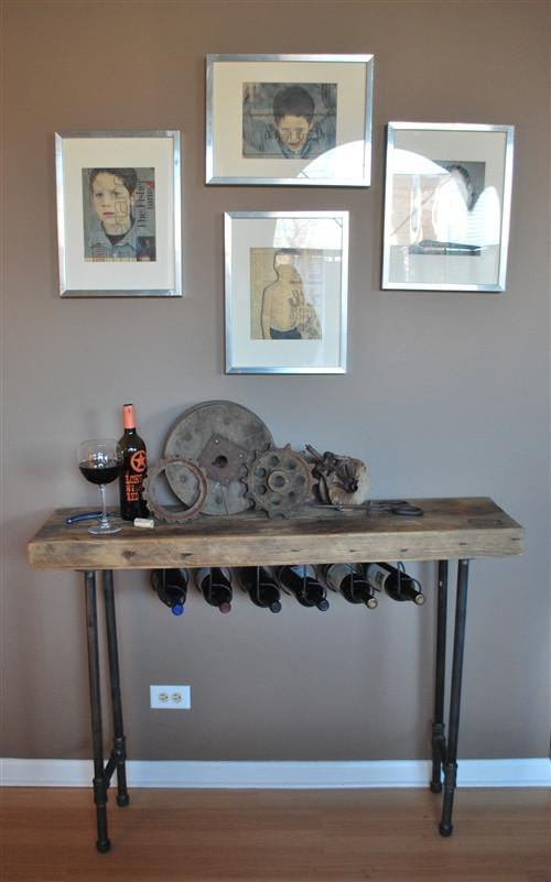 Modern Industry Wine Table and Rack