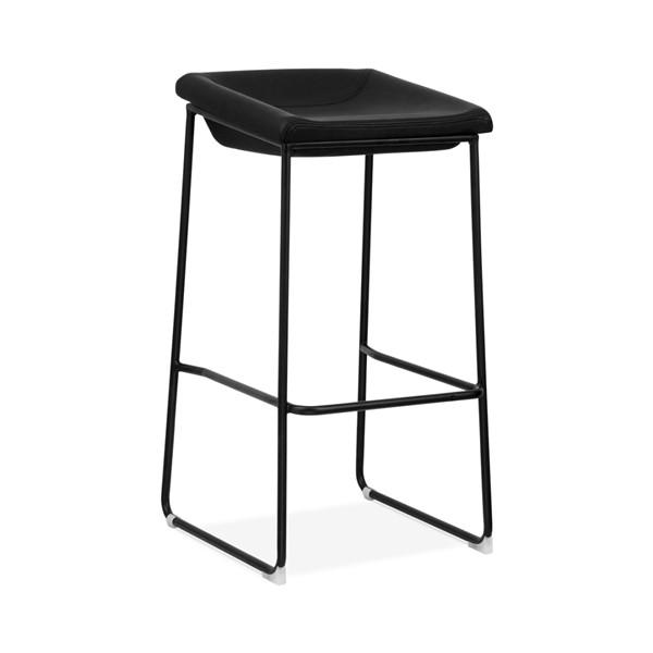 Modello Black Modern Barstool with Black Vinyl Padded Seat