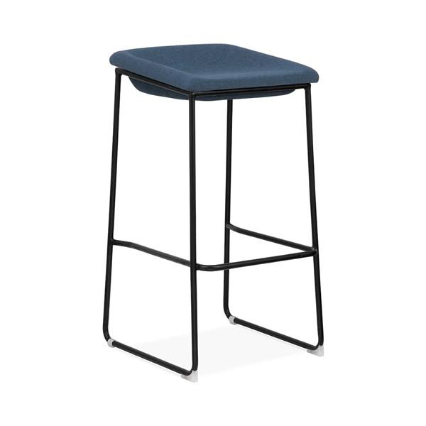 Modello Black Modern Barstool with Blue Vinyl Padded Seat