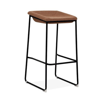 Modello Black Modern Barstool with Brown Vinyl Padded Seat
