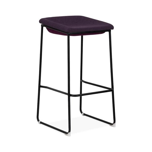 Modello Black Modern Barstool with Dark Purple Vinyl Padded Seat
