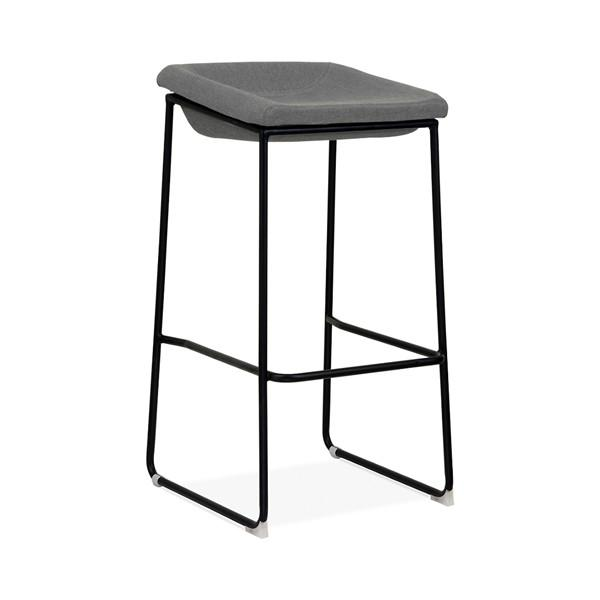 Modello Black Modern Barstool with Grey Vinyl Padded Seat