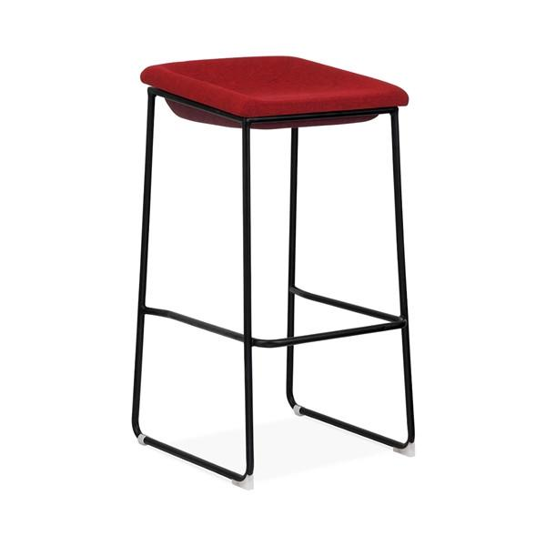 Modello Black Modern Barstool with Red Vinyl Padded Seat