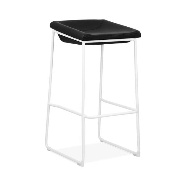 Modello White Modern Barstool with Black Vinyl Padded Seat