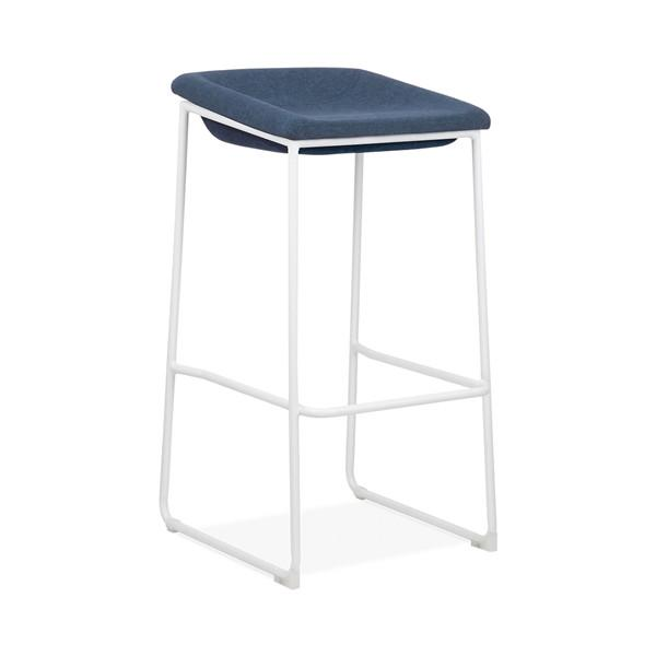 Modello White Modern Barstool with Blue Vinyl Padded Seat