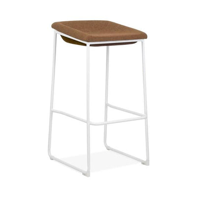 Modello White Modern Barstool with Brown Vinyl Padded Seat