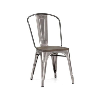 Dreux Clear Gunmetal + Elm Wood Seat Stackable Steel Side Chair (Set of 4)