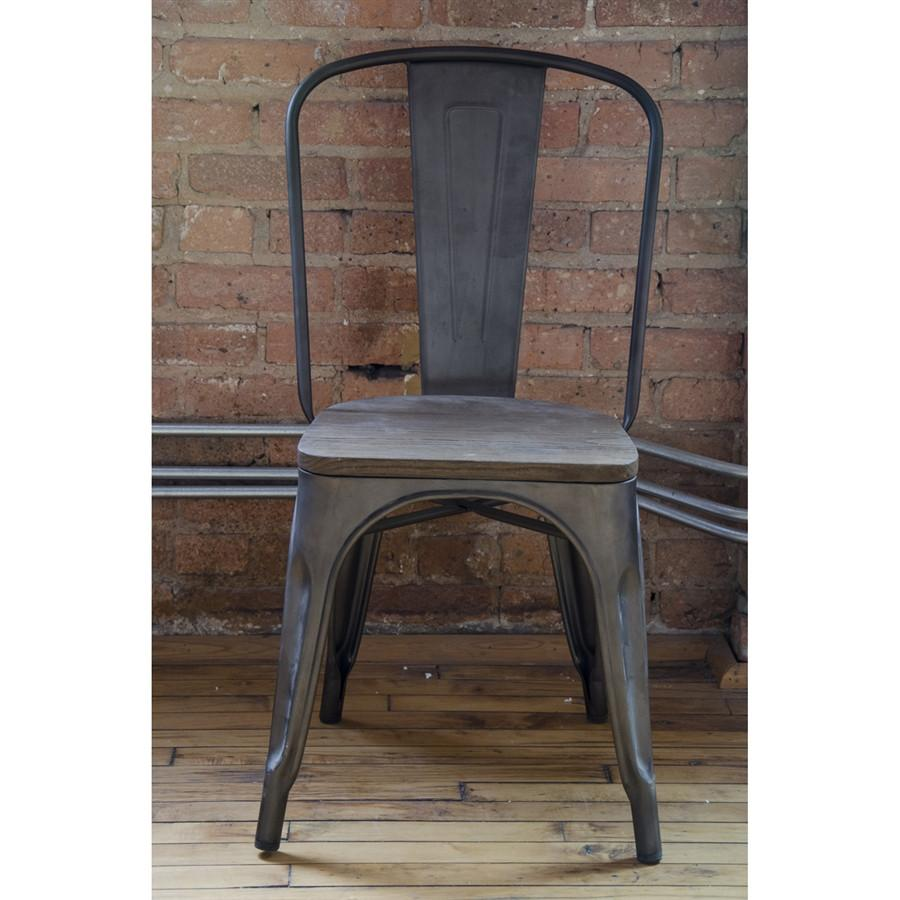 Amalfi Steel Stackable Rustic Matte Elm Wood Seat Side Chair Set of 4