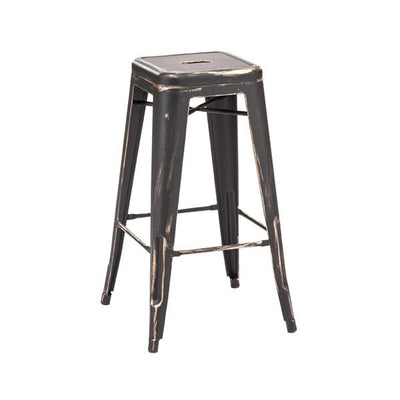 Amalfi Stackable Vintage Black + Gold Steel Barstool Set of 4