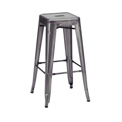 Amalfi Stackable Dark Gunmetal Steel Barstool Set of 4