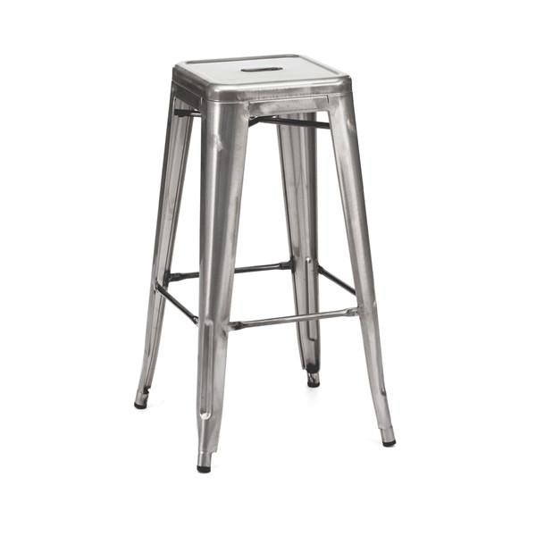 Amalfi Stackable Clear Gunmetal Steel Barstool