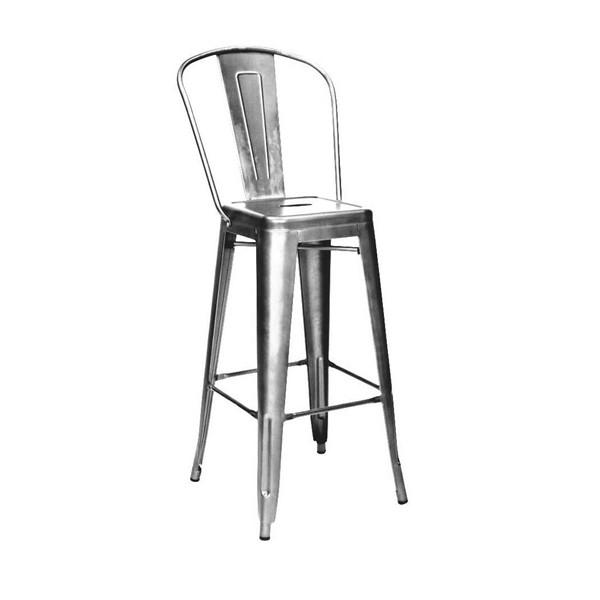 Amalfi Clear Gunmetal Steel High Back Barstool Set of 4