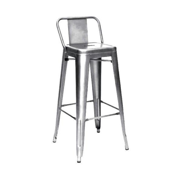 Amalfi Clear Gunmetal Steel Low Back Barstool Set of 4